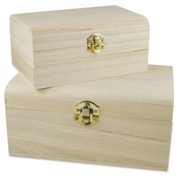 Deckeltruhen Schnappverschluss 2er-Set natur Holz/Metall, h8,4cm 17,8x11,8cm, h6,6cm 14x9cm