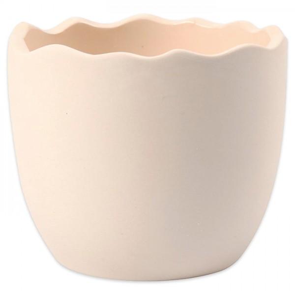 Eierschale halb Terrakotta Ø 7,5x6,3cm weiß