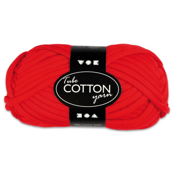 Baumwoll-Schlauchgarn 100g rot 100% Baumwollen mit Nylonfüllung, für Nadel Nr. 8-10