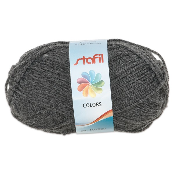 Wolle Colors 50g grau LL ca.133m, Nadel Nr. 3, 100% Polyacryl