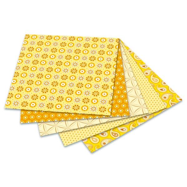 Faltblätter Basics 80g/m² 15x15cm 50 Bl. gelb 5 Designs, Rückseite uni