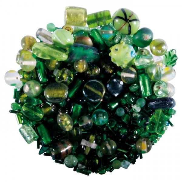 Glasperlen-Mix ca. 2-20mm 250g grüntöne Lochgr. ca. 0,7-2mm
