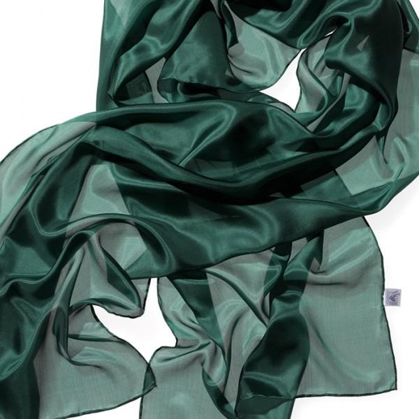 Schal Seide Pongé 05 180x45cm waldgrün 100% Seide
