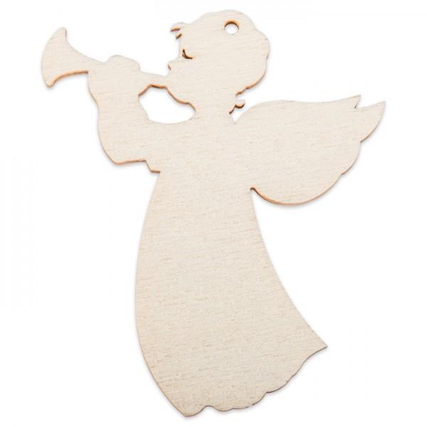 Holzmotiv Engel mit Trompete 3mm ca. 6cm natur