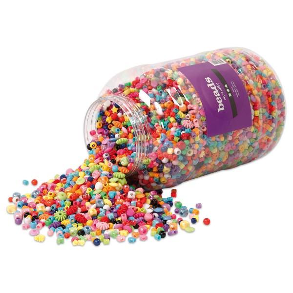 Kunststoffperlen-Mix 6-20mm ca. 8.100 St. 5.700ml bunt ca. 3.000g, Lochgröße ca. 1,5-6mm