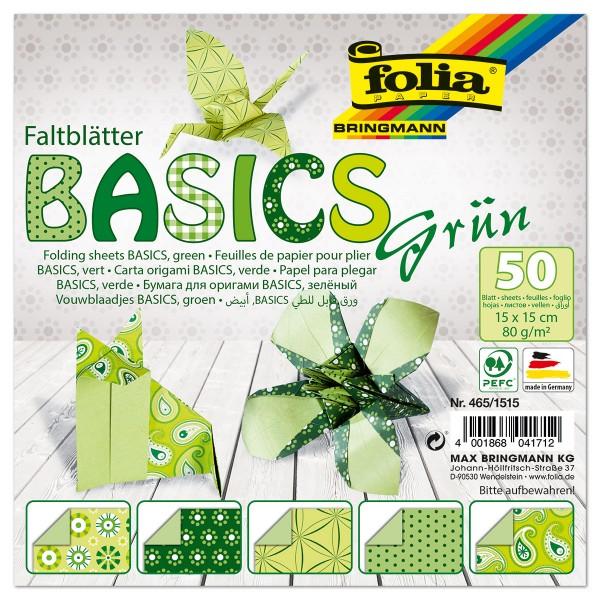 Faltblätter Basics 80g/m² 15x15cm 50 Bl. grün 5 Designs, Rückseite uni