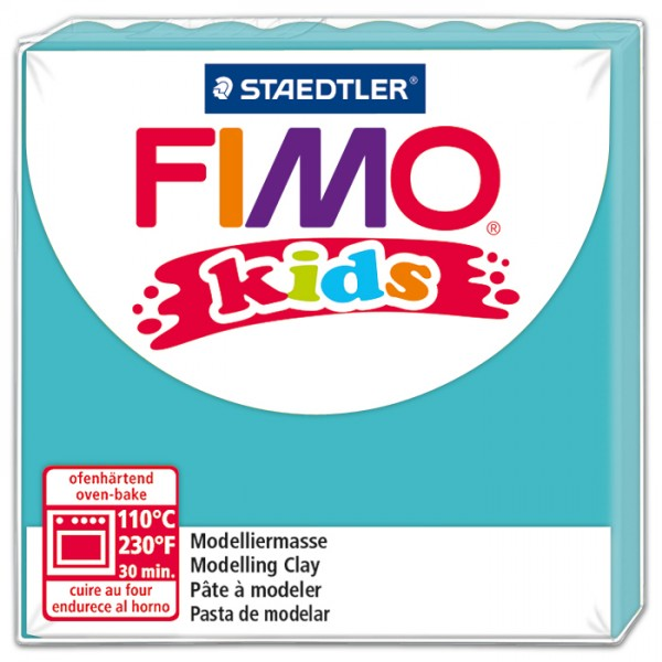 FIMO kids 55x55x10mm 42g türkis ofenhärtende Modelliermasse