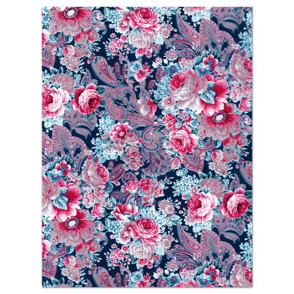 Decoupagepapier Rosen pink/blau/schwarz von Décopatch, 30x40cm, 20g/m²