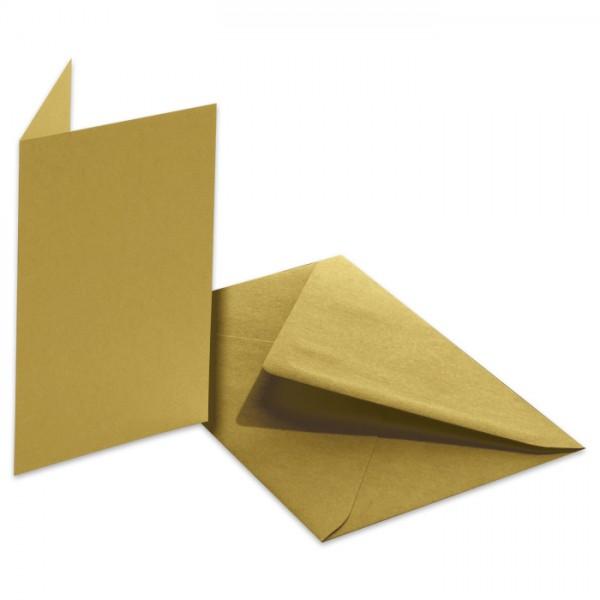 Doppelkarten 220g/m² 10,5x15cm 5 St. gold inkl. Kuvert&Einlegeblatt