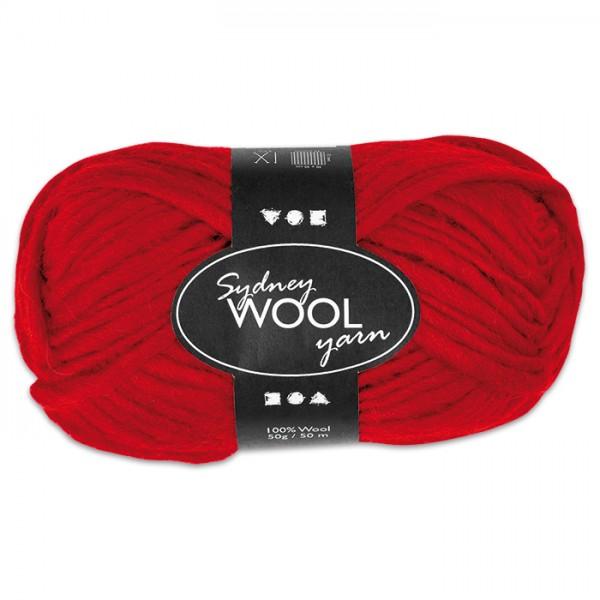 Garn Sydney Filzwolle 50g rot 100% Wolle, LL 50m, Nadel Nr. 8