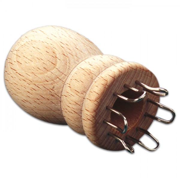 Strickliesel mit 6 Haken Holz/Metall