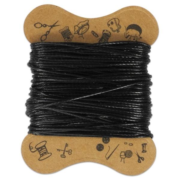 Kordel gewachst 0,5mm 10m schwarz 100% Baumwolle