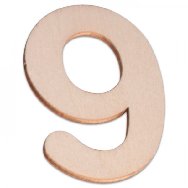 Holzzahl 9 ca. 3mm 6cm hoch natur