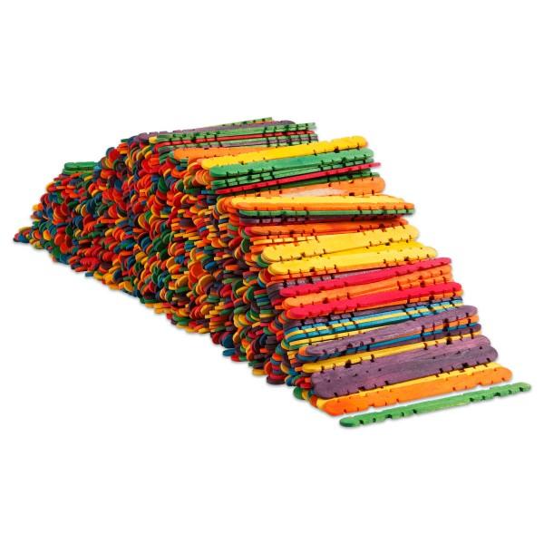 Holzstöcke flach 11,4x10mm 1.000 St. bunt sortiert mit Einkerbungen zum Ineinanderstecken