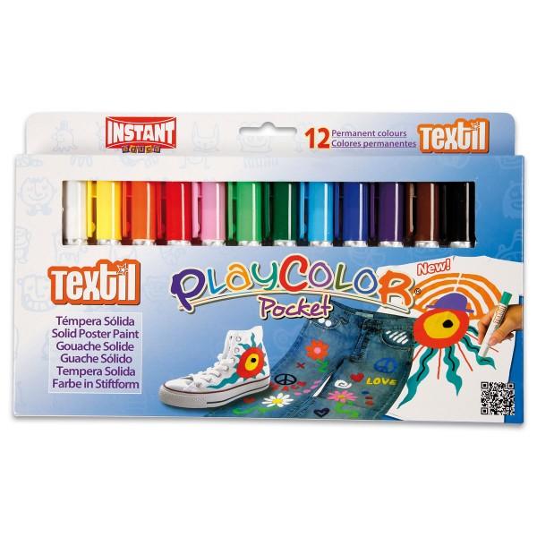 Playcolor Textil Stoffmalstifte 12 St./Farben Wachsmalfarbe, Stifte je Ø1,5x14cm