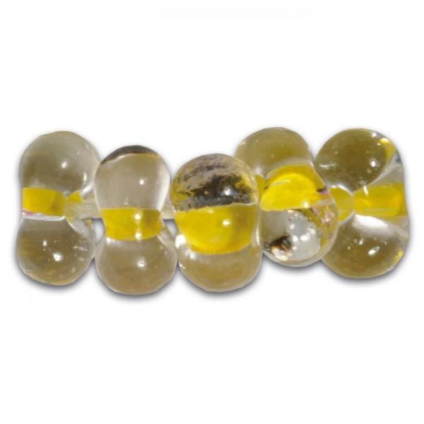 Farfalle Farbeinzug 6,5mm 17g cristall gelb Glas, Lochgr. ca. 1mm