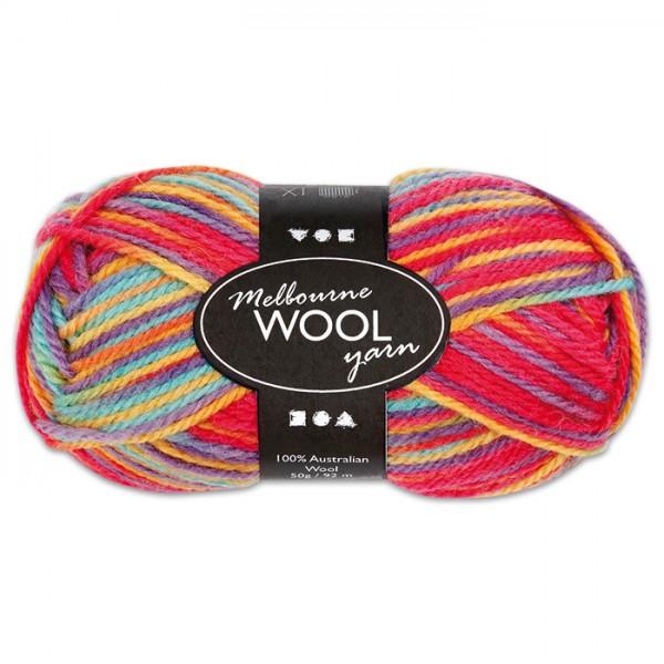 Garn Melbourne Filzwolle 50g multicolor 100% Wolle, LL 92m, Nadel Nr. 4