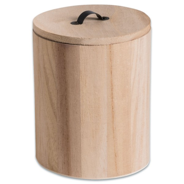 Holzdose mit Deckel Ø 11,5x15cm natur mit Metallgriff
