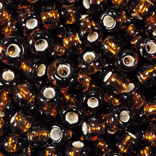 Rocailles transparent 2,6mm 17g dunkelbraun Silbereinzug, Glas, Lochgr. ca. 0,9mm