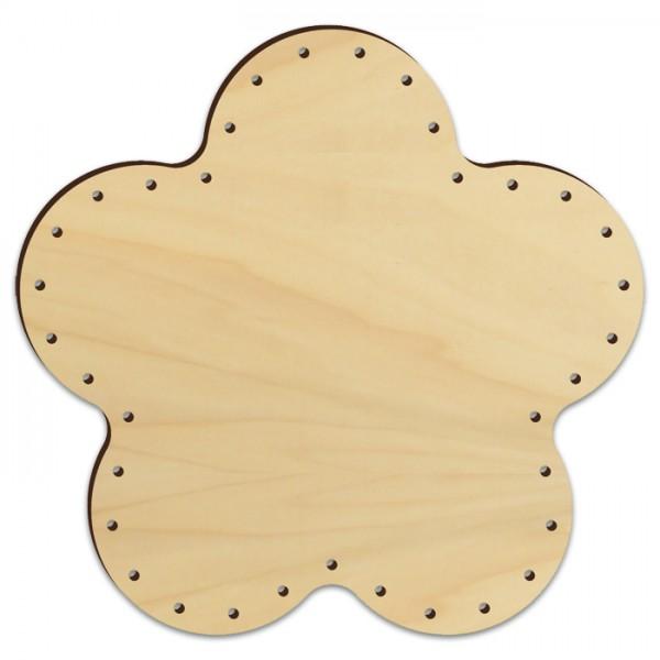 Korbflechtboden Holz 4mm Ø19cm Blüte natur 35 Bohrungen 3mm