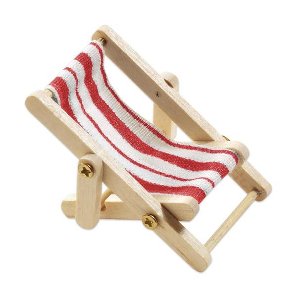 Liegestuhl Holz/Stoff 50x35mm rot/weiß