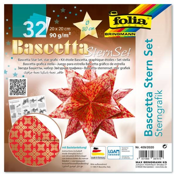 Bascetta-Stern ca. Ø 30cm 32 Bl. rot/gold Sternengrafik 20x20cm, 90g/m²