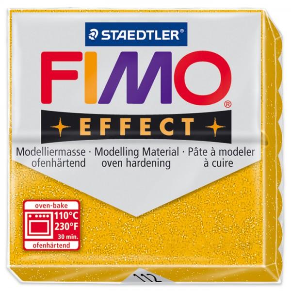 FIMO effect 55x55x15mm 57g glitter goldfarben ofenhärtende Modelliermasse