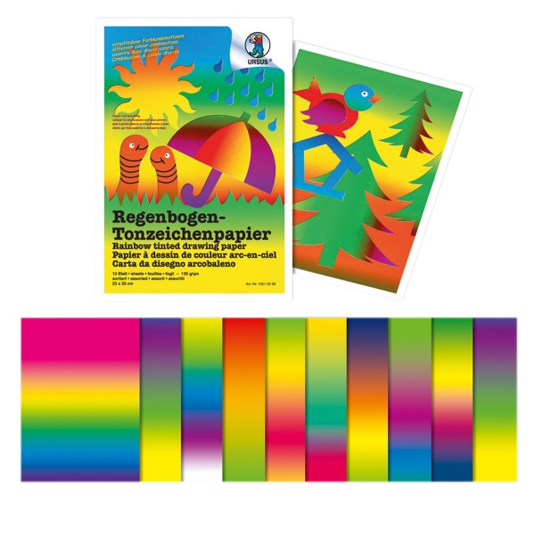 Regenbogen-Fotokarton 300g/m² 50x70cm 10 Bl. beidseitig bedruckt