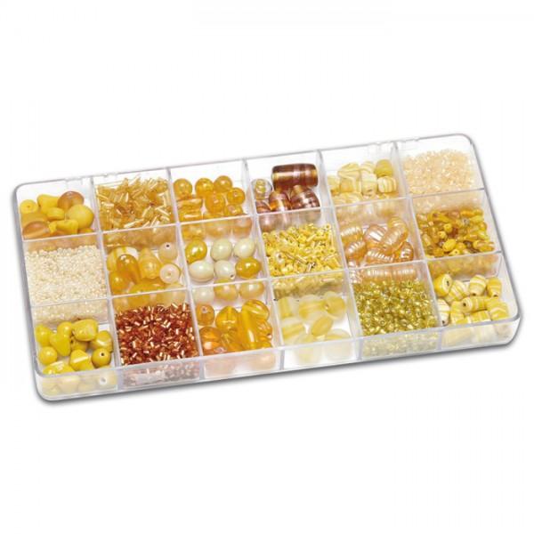 Schmuckbox groß Glasperlen 3-16mm 200g gelb Lochgr. ca. 0,7-1,5mm