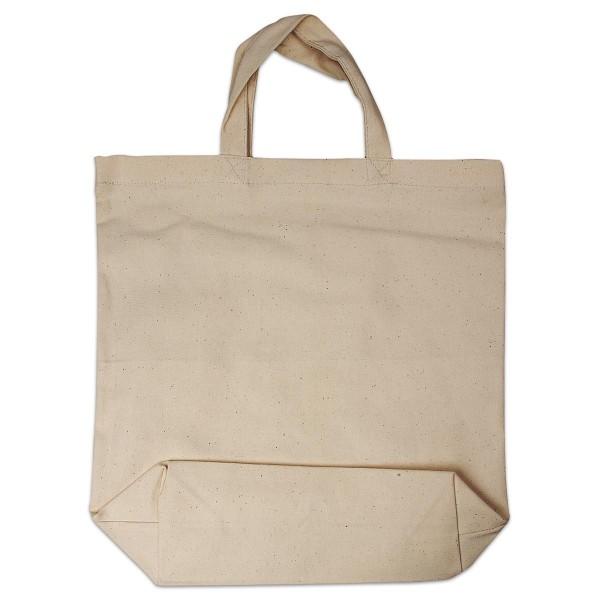 Einkaufstasche Canvas-Qualität 39x44cm natur mit Bodenfalte, 100% Baumwolle