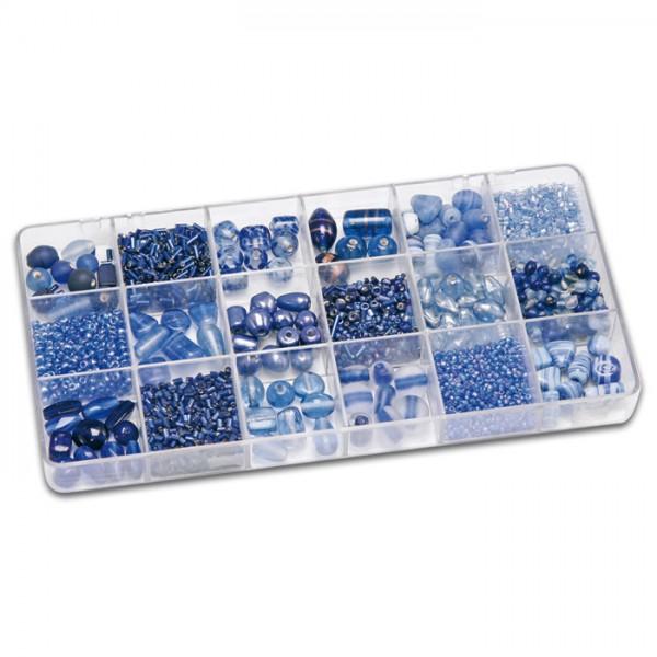 Schmuckbox groß Glasperlen 3-16mm 200g blau Lochgr. ca. 0,7-1,5mm