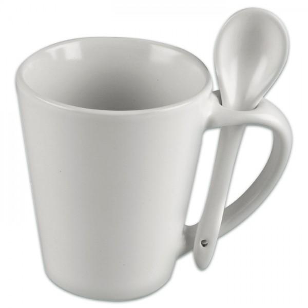 Tasse mit Löffel Porzellan Ø 6-8,5x10cm weiß