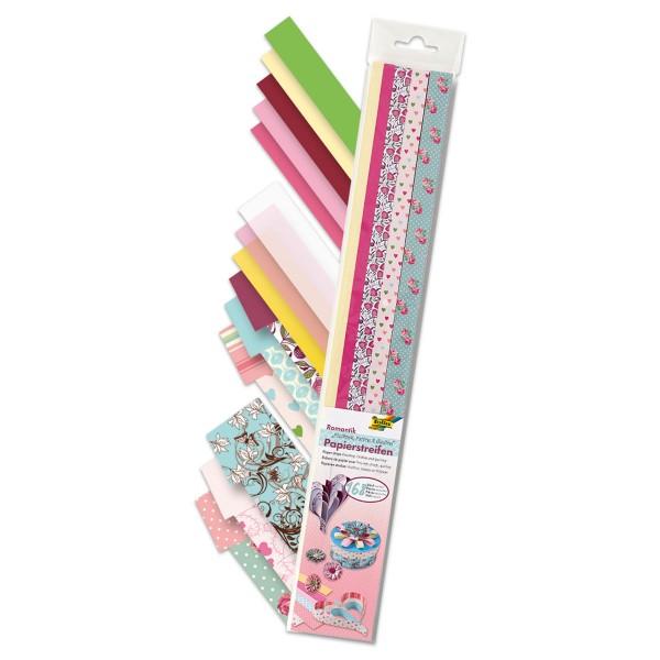 Papierstreifen 50cm 168 St. Romantik 115-130g/m², 60 St. 1cm/72 St. 1,5cm/36 St. 2cm