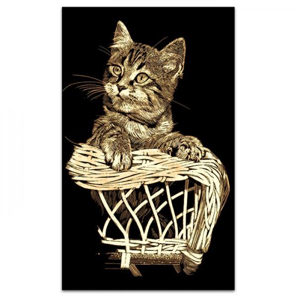 Kratzbild gold 18x11cm Kätzchen