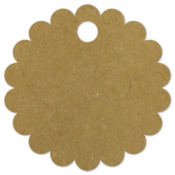 Geschenkanhänger 57mm 10 St. Blüte brauner Karton, mit Loch, inkl. 3m Schnur