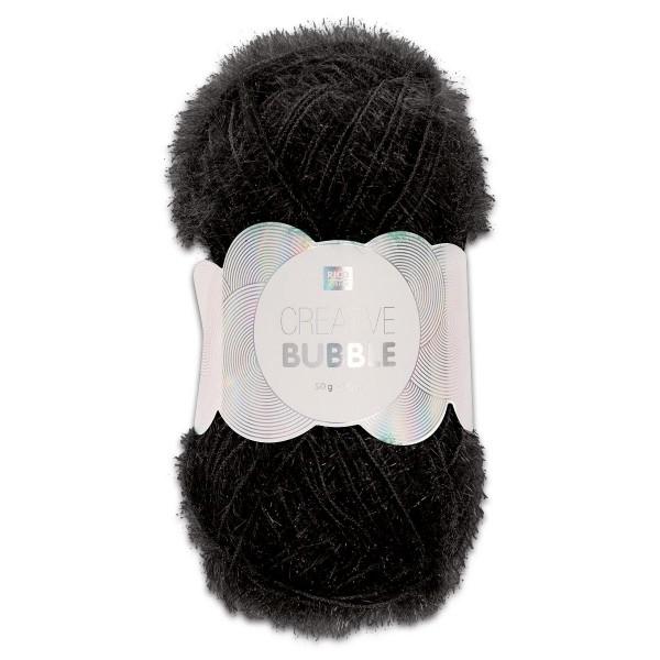 Creative Bubble Wolle 50g ca. 90m schwarz Nadel Stricken Nr. 2, Häkeln Nr. 4, 100% Polyester
