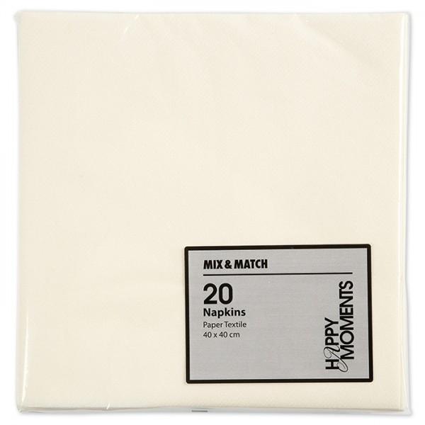 Servietten 40x40cm 60g/m² 20 St. cremeweiß textilähnlich, 1-lagig
