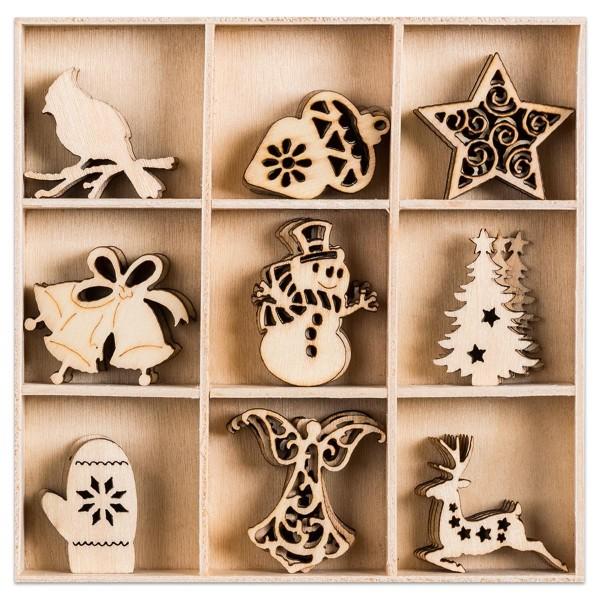 Mini-Holzornamente Weihnachten 5 45 St. natur Größe ca. 23-30 mm