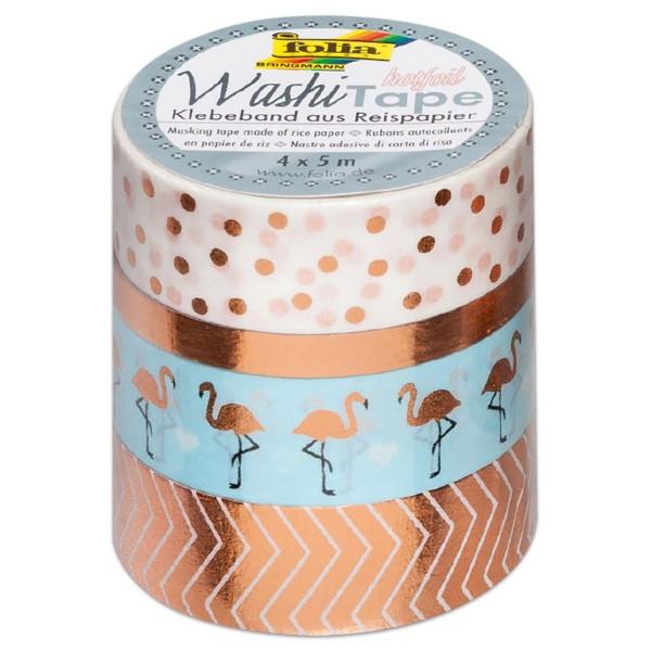 Washi Tape Papier-Klebeband 40m Hotfoil roségold 4 Rollen à 10m, 3x15mm, 1x5mm