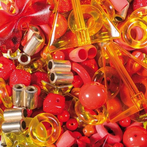 Kunststoffperlen-Mix 4-40mm transp./satt rot-gelb ca. 350-400g, Lochgr. ca.0,9-12mm