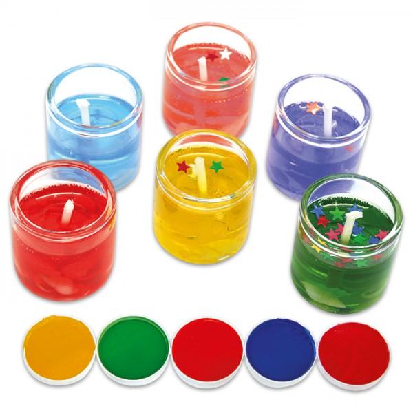 Abtönfarben für Kerzen-Gel Set 25ml je 5ml in gelb/grün/orange/blau/rot