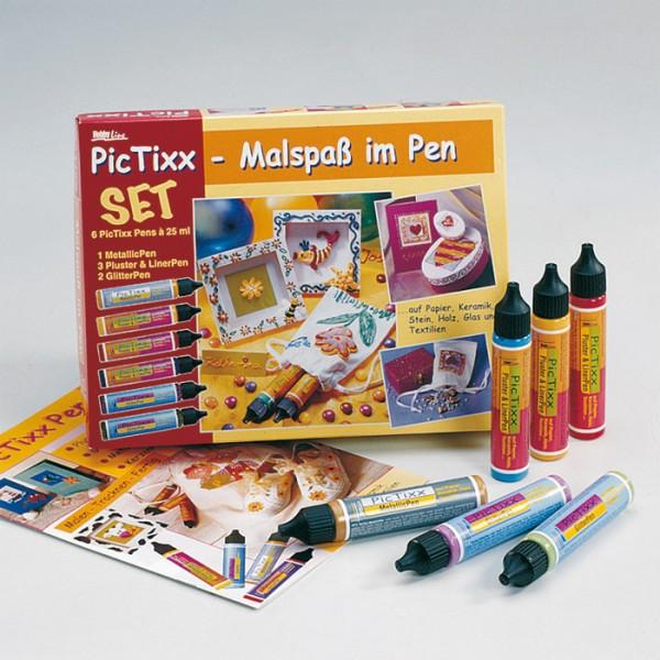 PicTixx-Set Malspaß im Pen 6x29ml inkl. Vorlagebogen
