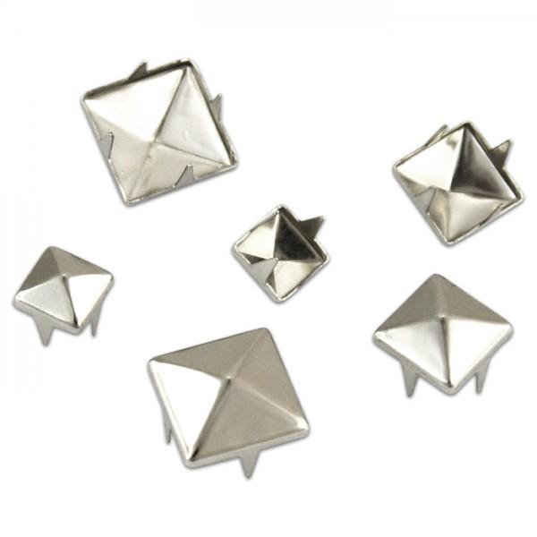 Deko-Nieten Pyramide 6/8/10mm 130 St. platinfarben Metall, zum Einstecken