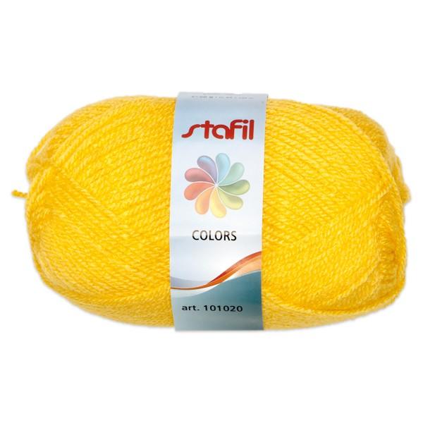 Wolle Colors 50g goldgelb LL ca.133m, Nadel Nr. 3, 100% Polyacryl