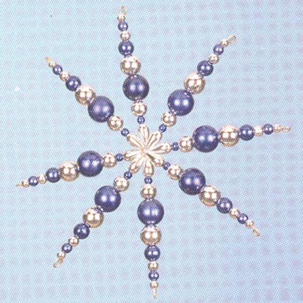 Kreativset Perlenstern ca. 12cm blau-silberfarben Bastelset, Kunststoff/Metall