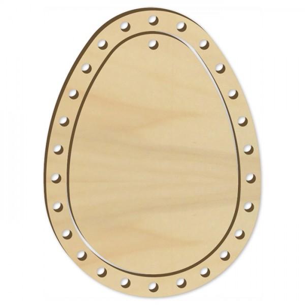 Fadenflechten Ei Holz ca. 10cm natur Pappelsperrholz, 4mm stark