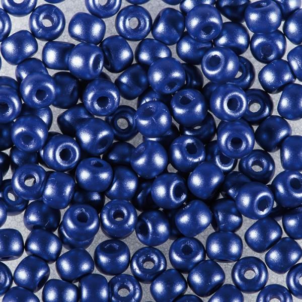 Rocailles DeluXes seidenmatt 3mm 4g dunkelblau ca. 120 St., Glas, Lochgr. ca. 0,8mm