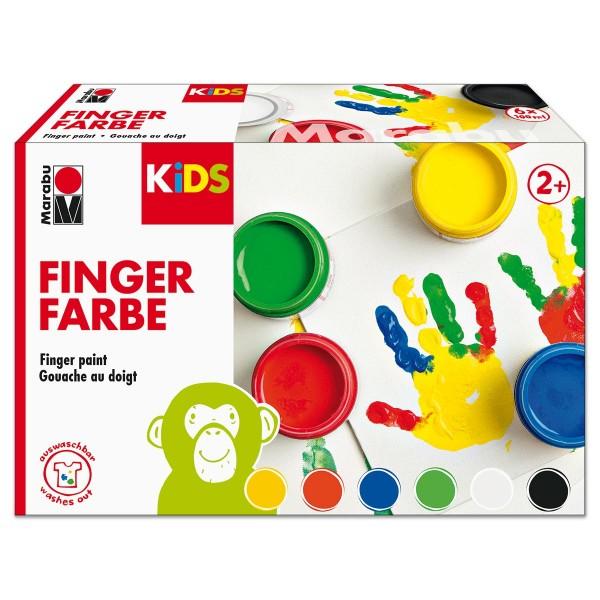 Marabu KiDS Fingerfarben-Set 6 Farben à 100ml