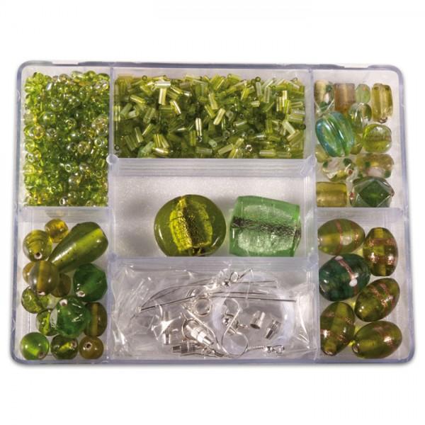 Glasperlen-Box ca. 2-30mm ca. 140g hellgrün inkl. Zubehör, Lochgr. ca. 0,7-1,5mm