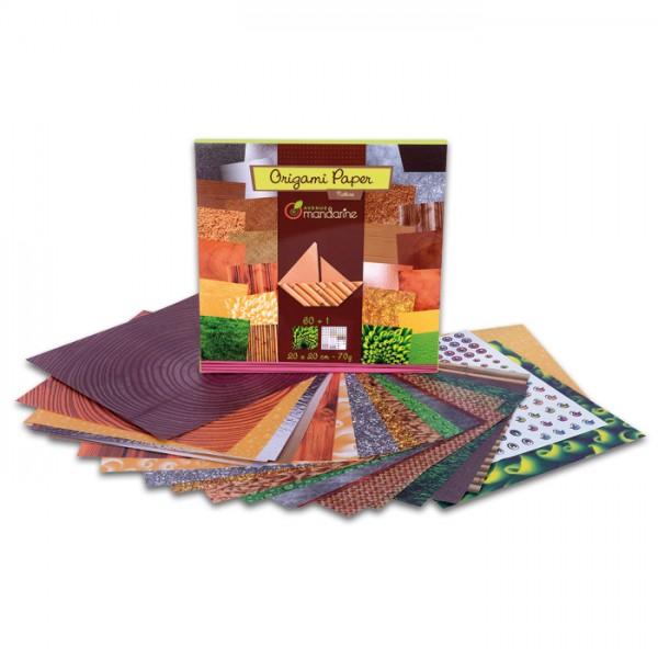 Origami-Papier 20x20cm 60 Bl. Nature 70g/m², 30 Motive, 1 selbstkl. Bogen m. Augen